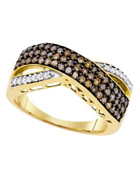 10kt Yellow Gold Womens Round Cognac-brown Color Enhanced Diamond Crossover Band Ring 3/4 Cttw