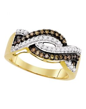 10kt Yellow Gold Womens Round Cognac-brown Color Enhanced Diamond Crossover Band Ring 1/2 Cttw