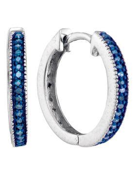 Sterling Silver Womens Round Blue Color Enhanced Diamond Single Row Hoop Earrings 1/10 Cttw