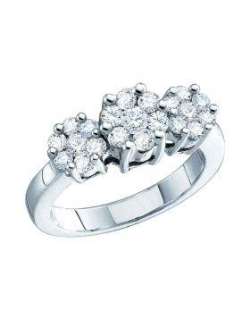 14kt White Gold Womens Round Diamond Triple Flower Cluster Ring 1/3 Cttw