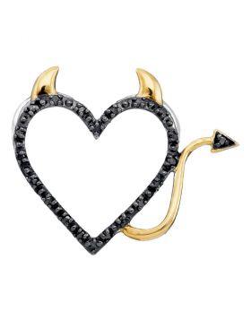 10kt White Gold Womens Round Black Color Enhanced Diamond Devil Naughty Heart Pendant 1/20 Cttw