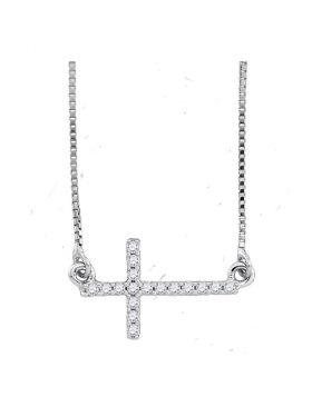 Sterling Silver Womens Round Diamond Horizontal Sideways Cross Faith Necklace 1/10 Cttw