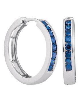 14k White Gold Womens Blue Color Enhanced Round Channel-Set Diamond Hoop Earrings 1/2 Cttw