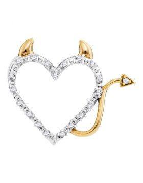 10kt Yellow Gold Womens Round Diamond Angel Heart Pendant 1/20 Cttw