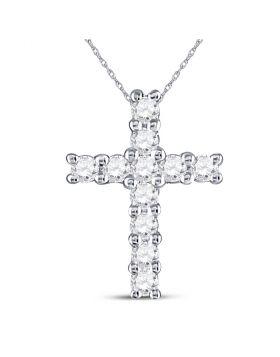 10kt White Gold Womens Round Diamond Cross Faith Pendant 1/10 Cttw
