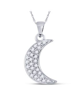 10kt White Gold Womens Round Diamond Crescent Moon Fashion Pendant 1/8 Cttw