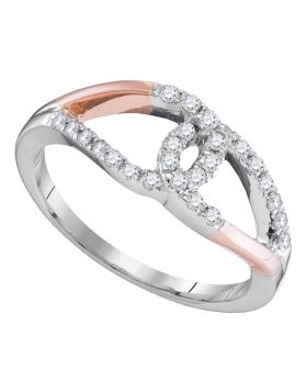 10kt Two-tone Gold Womens Round Diamond Loop Lasso Knot Band Ring 1/4 Cttw