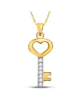 10kt Yellow Gold Womens Round Diamond Key Heart Pendant 1/20 Cttw