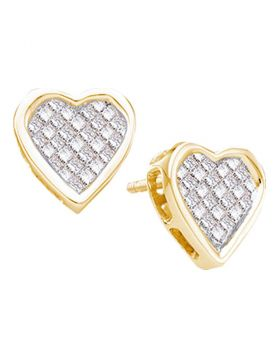 14kt Yellow Gold Womens Princess Diamond Cluster Heart Screwback Stud Earrings 1/2 Cttw