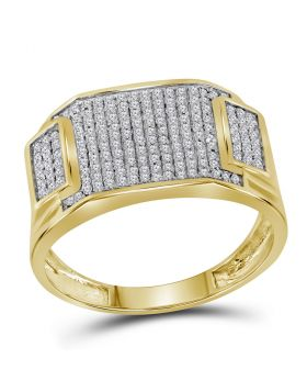 10KT YELLOW GOLD ROUND DIAMOND RECTANGLE CLUSTER RING 1/2 CTTW