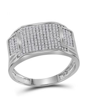 10kt White Gold Round Diamond Rectangle Cluster Ring 1/2 Cttw