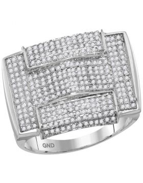 10KT WHITE GOLD ROUND PAVE-SET DIAMOND RECTANGLE ARCHED CLUSTER RING 1.00 CTTW