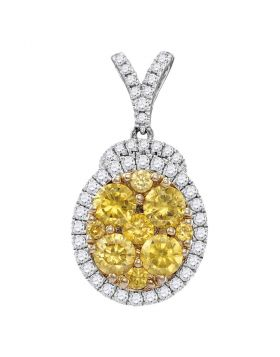14kt White Gold Womens Round Yellow Diamond Oval Frame Cluster Pendant 2.00 Cttw