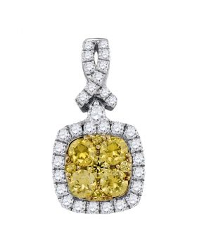 14kt White Gold Womens Round Yellow Diamond Cluster Square Frame Pendant 1.00 Cttw