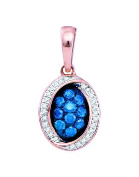 10kt Rose Gold Womens Round Blue Color Enhanced Diamond Oval Pendant 1/3 Cttw