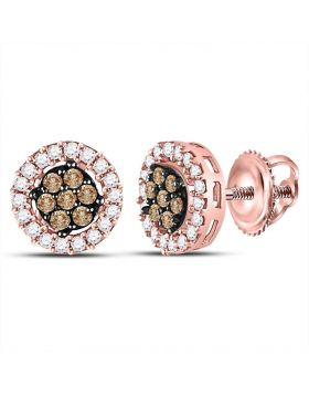 10kt Rose Gold Womens Round Brown Color Enhanced Diamond Flower Cluster Earrings 1/4 Cttw