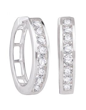 10kt White Gold Womens Round Channel-set Diamond Single Row Hoop Earrings 1/2 Cttw