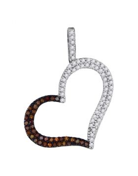 10kt Rose Gold Womens Round Red Color Enhanced Diamond Heart Pendant 1/3 Cttw