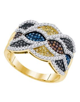 10kt Yellow Gold Womens Round Multicolor Enhanced Diamond Fashion Ring 3/4 Cttw