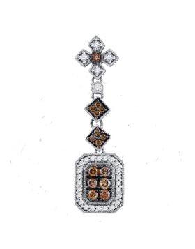 14kt Yellow Gold Womens Round Brown Color Enhanced Diamond Fashion Pendant 1/2 Cttw