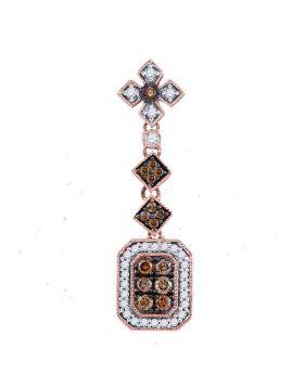 14kt Rose Gold Womens Round Brown Color Enhanced Diamond Fashion Pendant 1/2 Cttw