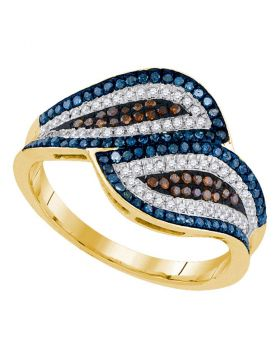 10kt Yellow Gold Womens Round Multicolor Enhanced Diamond Bypass Fashion Ring 1/2 Cttw