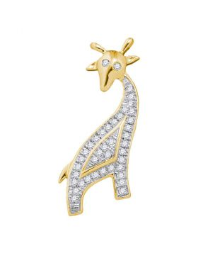 10kt Yellow Gold Womens Round Diamond Giraffe Animal Pendant 1/10 Cttw