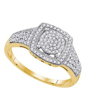 10kt Yellow Gold Womens Round Diamond Square Cluster Milgrain Ring 1/3 Cttw