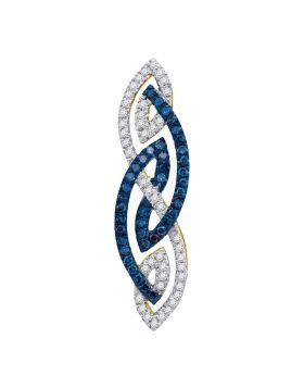 Womens 10K Yellow Gold Enhanced Color Enhanced Blue Diamond Fashion Charm Pendant 1/4CT
