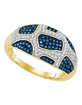 10kt Yellow Gold Womens Round Blue Color Enhanced Diamond Band Ring 3/8 Cttw