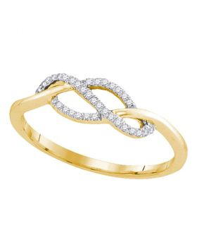 10kt Yellow Gold Womens Round Diamond Crossover Strand Ring 1/10 Cttw