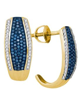 10kt Yellow Gold Womens Round Blue Color Enhanced Diamond Half J Hoop Earrings 1/2 Cttw