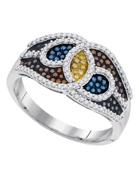10kt White Gold Womens Round Multicolor Enhanced Diamond Swirl Fashion Ring 1/2 Cttw