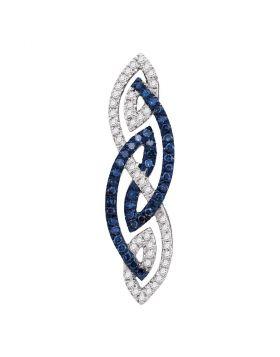 Womens 10K White Gold Enhanced Color Enhanced Blue Diamond Fashion Charm Pendant 1/4CT