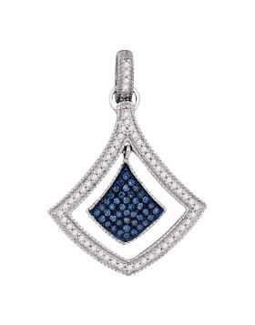 10kt White Gold Womens Round Blue Color Enhanced Diamond Spade Cluster Pendant 1/4 Cttw