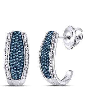 10kt White Gold Womens Round Blue Color Enhanced Diamond Half J Hoop Earrings 1/2 Cttw