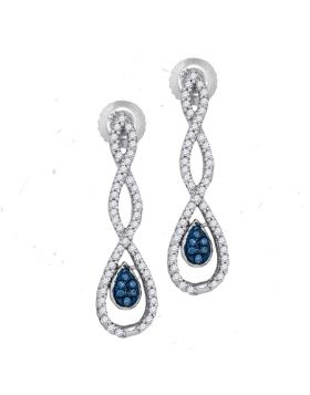 10kt White Gold Womens Round Blue Color Enhanced Diamond Dangle Earrings 1/4 Cttw