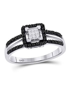 10kt White Gold Womens Round Black Color Enhanced Diamond Cluster Ring 1/3 Cttw
