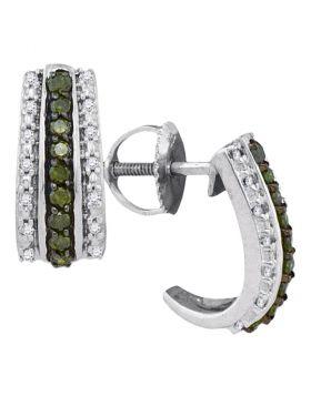 10kt White Gold Womens Round Green Color Enhanced Diamond Half J Hoop Earrings 1/3 Cttw