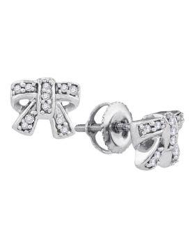 10kt White Gold Womens Round Diamond Ribbon Bow Cluster Screwback Earrings 1/10 Cttw