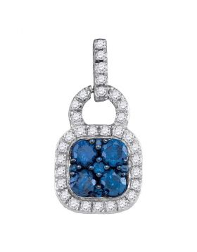 10kt White Gold Womens Round Blue Color Enhanced Diamond Square Frame Cluster Pendant 3/4 Cttw