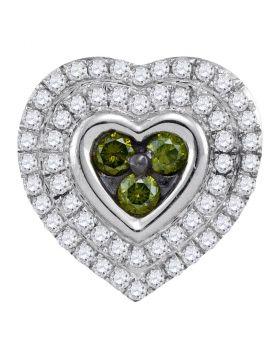 10kt White Gold Womens Round Green Color Enhanced Diamond Heart Cluster Pendant 1/2 Cttw