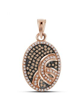 10kt Rose Gold Womens Round Red Color Enhanced Diamond Oval Pendant 1/4 Cttw