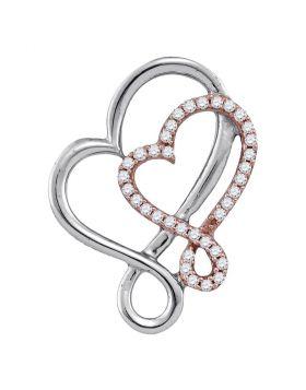 10kt White Rose Gold Womens Round Diamond Heart Pendant 1/6 Cttw