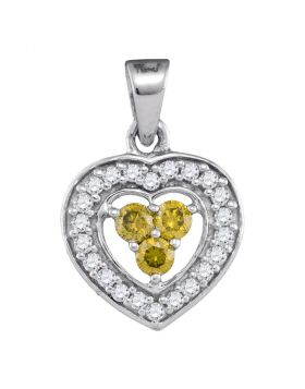 10kt White Gold Womens Round Yellow Color Enhanced Diamond Heart Frame Pendant 1/3 Cttw