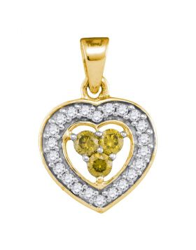 10kt Yellow Gold Womens Round Yellow Color Enhanced Diamond Heart Frame Pendant 1/3 Cttw