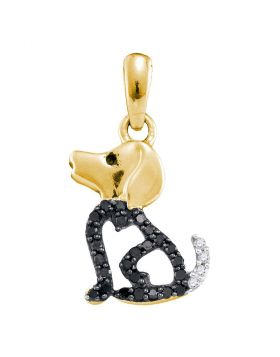 10kt Yellow Gold Womens Round Black Color Enhanced Diamond Puppy Dog Doggy Animal Pendant 1/8 Cttw