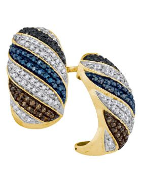 10kt Yellow Gold Womens Round Black Blue Brown Color Enhanced Diamond Half Hoop Stripe Earrings 1/2 Cttw