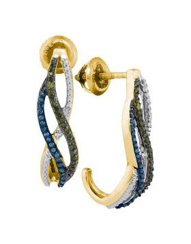 10kt Yellow Gold Womens Round Green Blue Color Enhanced Diamond Half J Hoop Earrings 1/4