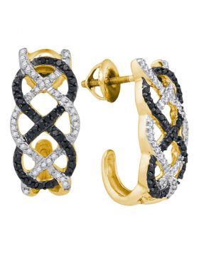 10kt Yellow Gold Womens Round Black Color Enhanced Diamond Hoop Earrings 1/2 Cttw